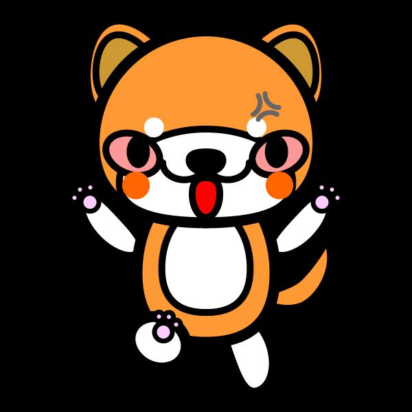 かわいい怒っている怒り顔の秋田犬の無料イラスト・商用フリー