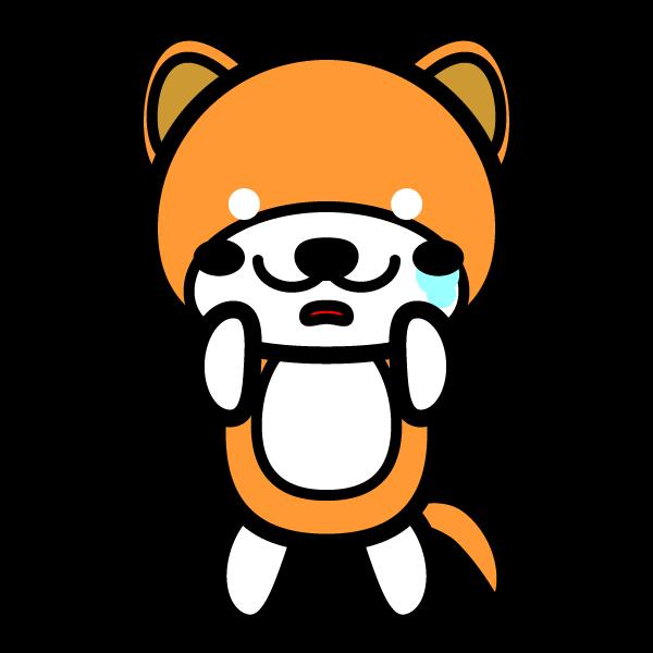 かわいい哀しんでいる泣き顔の秋田犬の無料イラスト・商用フリー