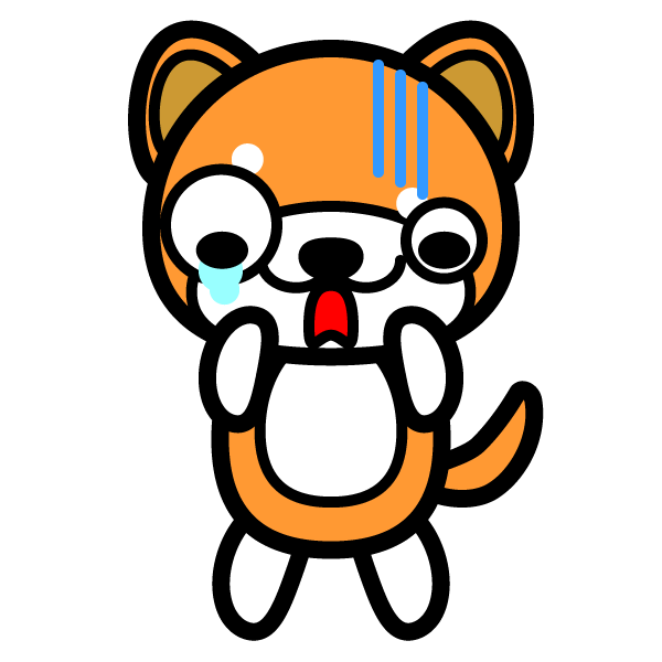 かわいいガーン!と困っている秋田犬の無料イラスト・商用フリー
