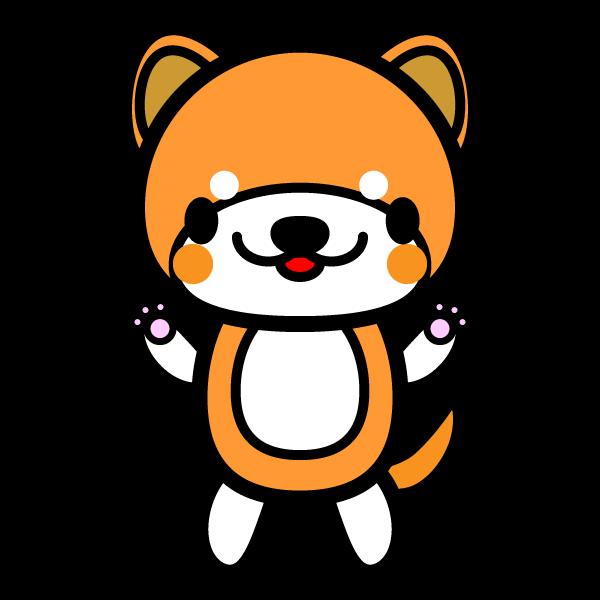 かわいい立っている秋田犬の無料イラスト・商用フリー