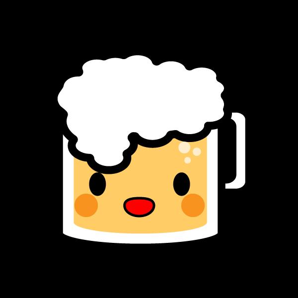 キャラクター風で笑顔のかわいいビールの無料イラスト・商用フリー