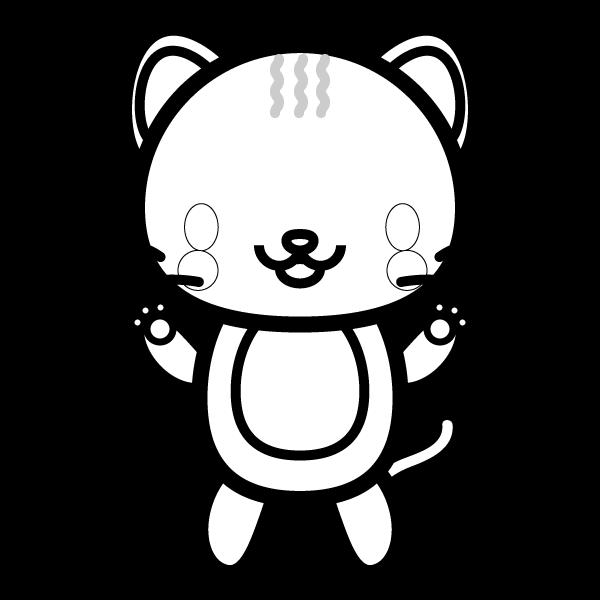 塗り絵に最適な白黒でかわいい猫の無料イラスト・商用フリー