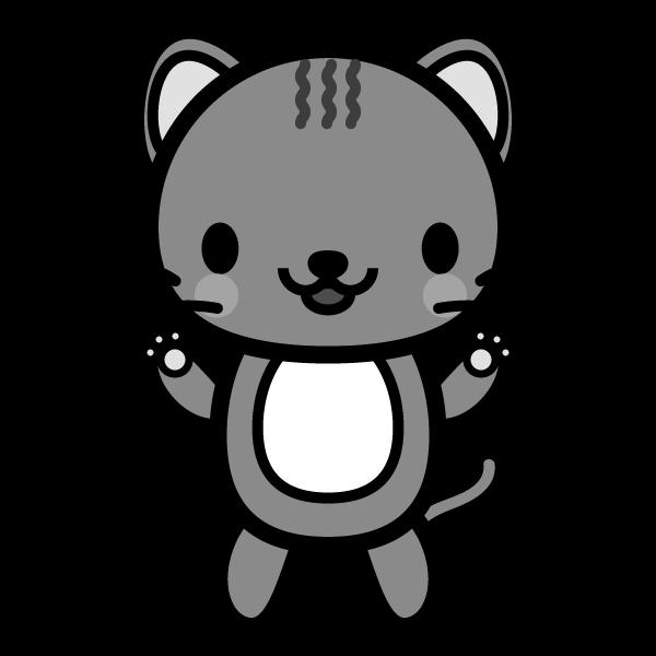 モノクロでかわいい猫の無料イラスト・商用フリー