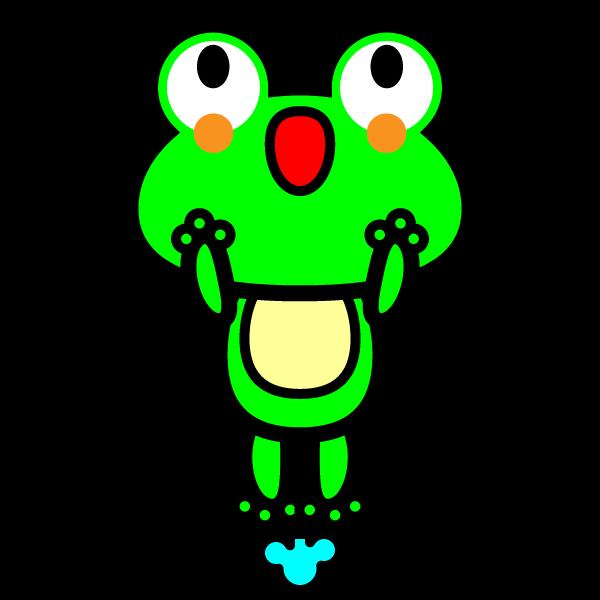 ジャンプしているかわいいカエルの無料イラスト・商用フリー