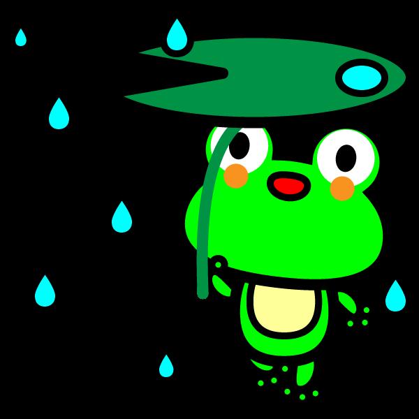 かわいいカエルと雨の無料イラスト・商用フリー