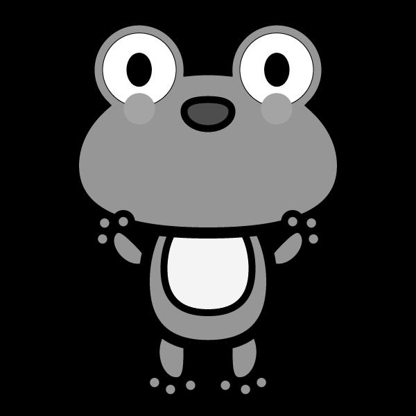 モノクロでかわいいカエルの無料イラスト・商用フリー