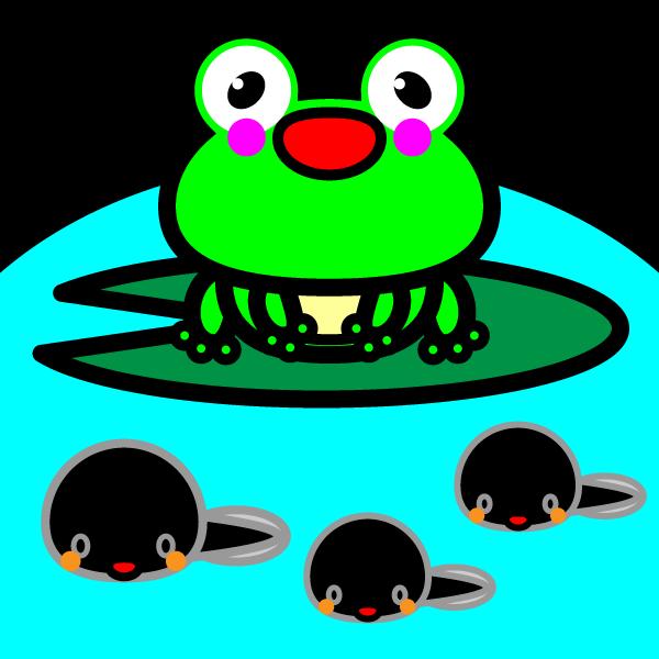 かわいいカエルとおたまじゃくしの無料イラスト・商用フリー