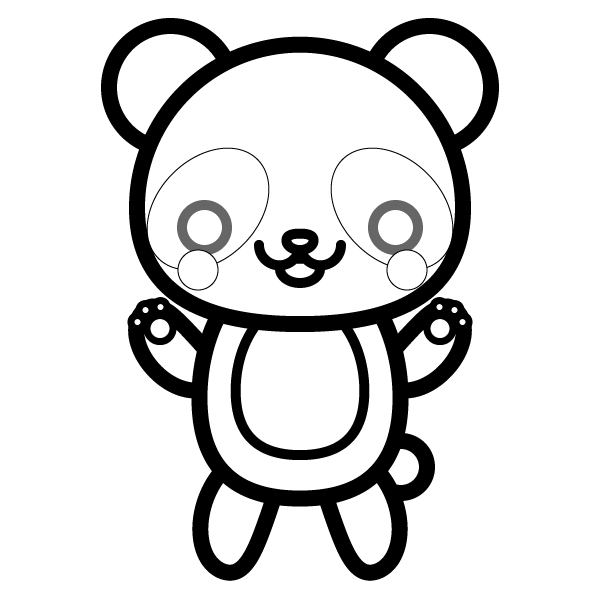 塗り絵に最適な白黒でかわいいパンダの無料イラスト・商用フリー