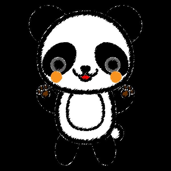 手書き風でかわいいパンダの無料イラスト・商用フリー