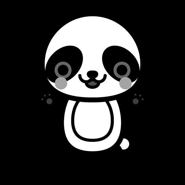 モノクロでかわいいパンダの無料イラスト・商用フリー