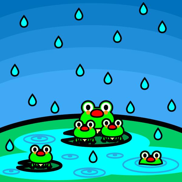 かわいいカエルと梅雨の無料イラスト・商用フリー