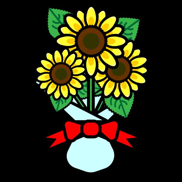 かわいいひまわりの花束の無料イラスト・商用フリー