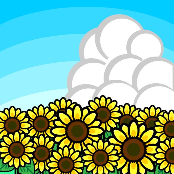 かわいいひまわり畑の無料イラスト・商用フリー