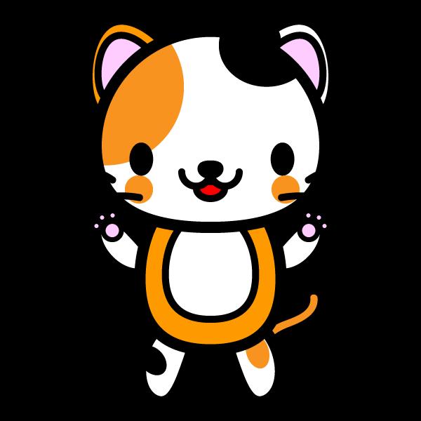 かわいい三毛猫の無料イラスト・商用フリー