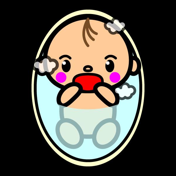 かわいいお風呂に入っている赤ちゃんの無料イラスト・商用フリー