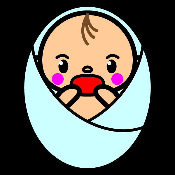 かわいい誕生したばかりの赤ちゃんの無料イラスト・商用フリー
