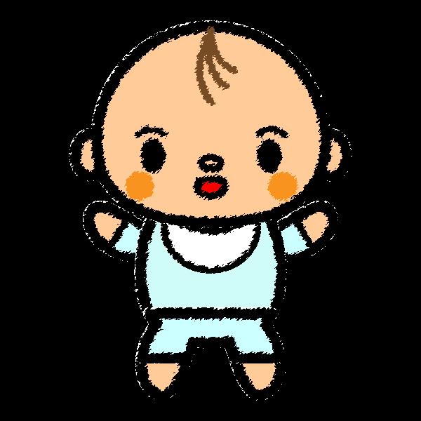 手書き風でかわいい赤ちゃん(男の子)の無料イラスト・商用フリー