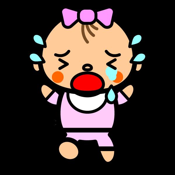 かわいい号泣している赤ちゃんの無料イラスト・商用フリー