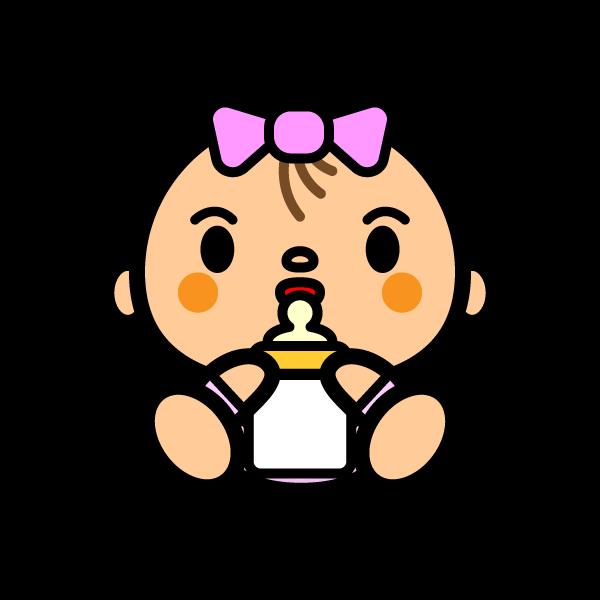 かわいいミルクを飲んでいる赤ちゃんの無料イラスト・商用フリー