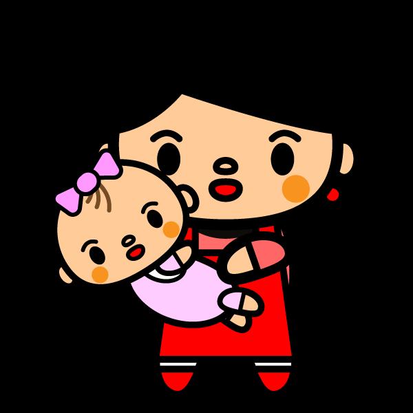 かわいいお母さんと一緒の赤ちゃんの無料イラスト・商用フリー