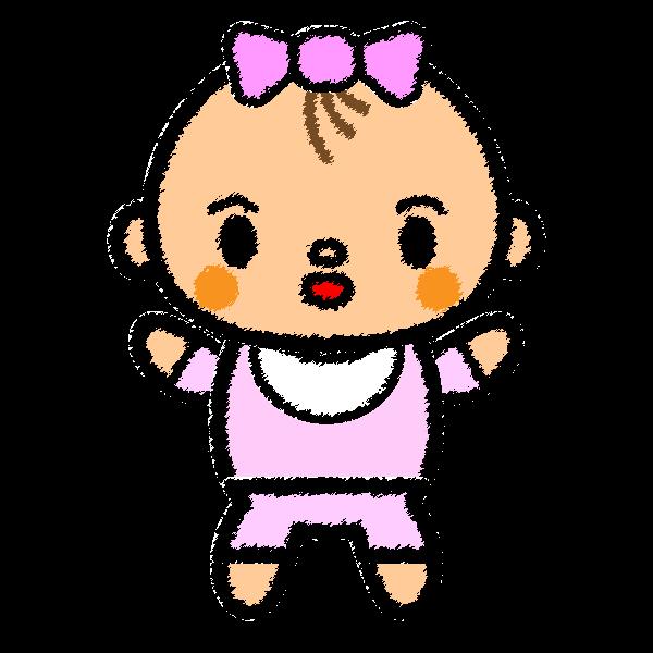 手書き風でかわいい赤ちゃん(女の子)の無料イラスト・商用フリー