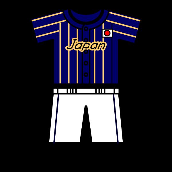 かわいい野球日本代表ユニフォームの無料イラスト・商用フリー