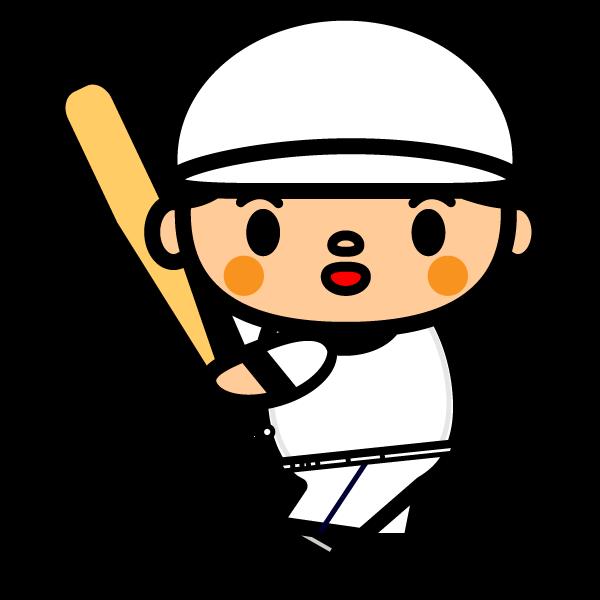 かわいい野球バッティングの無料イラスト・商用フリー