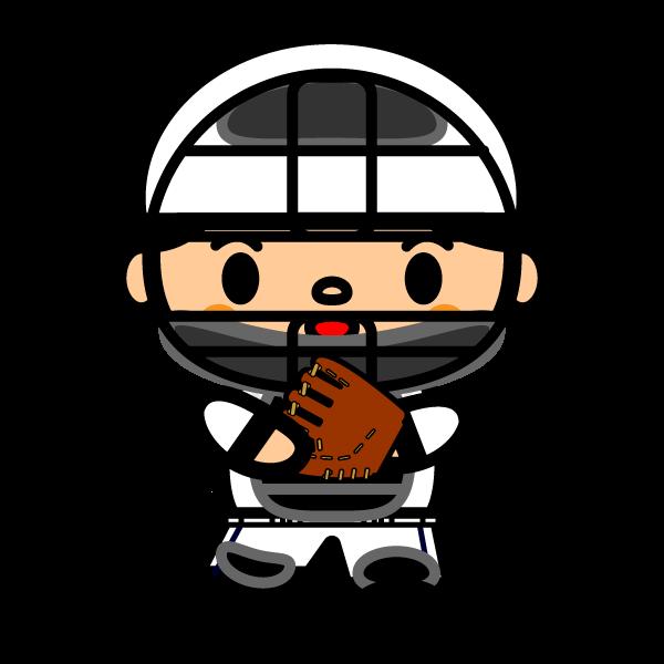 かわいい野球キャッチャーの無料イラスト・商用フリー