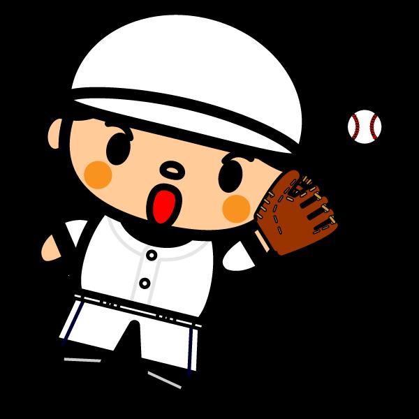 かわいい野球キャッチングの無料イラスト・商用フリー