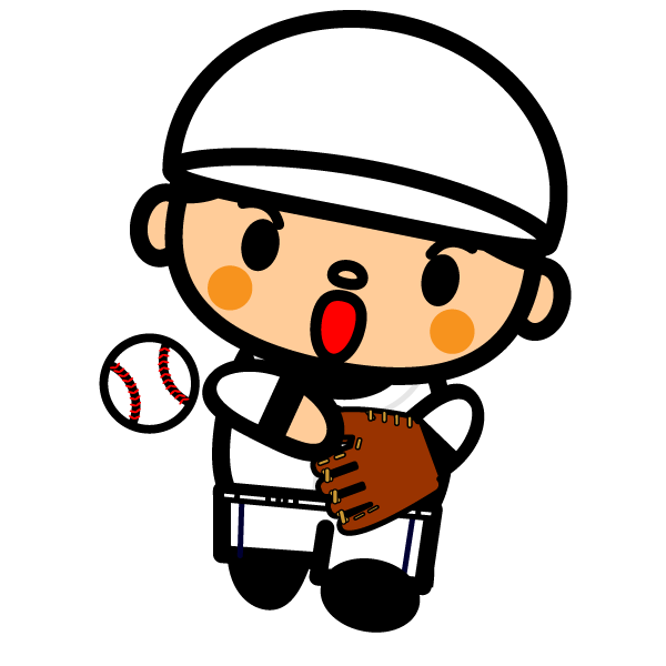かわいい野球ピッチングの無料イラスト・商用フリー