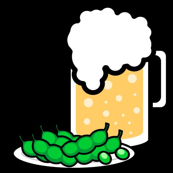 かわいいビールと枝豆の無料イラスト・商用フリー