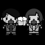 beer_toast-couple-monochrome