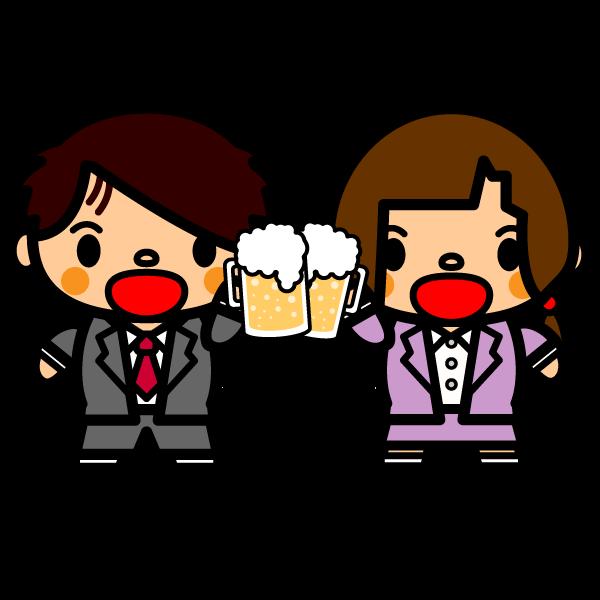 かわいいビールで乾杯の無料イラスト・商用フリー