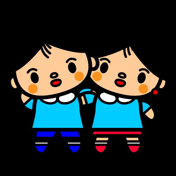 かわいい幼稚園のカップルの無料イラスト・商用フリー