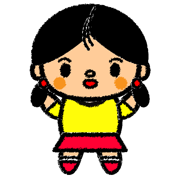手書き風でかわいい女の子の無料イラスト・商用フリー