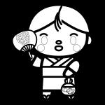 goldfish-scooping_boy-blackwhite