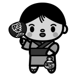 goldfish-scooping_boy-monochrome