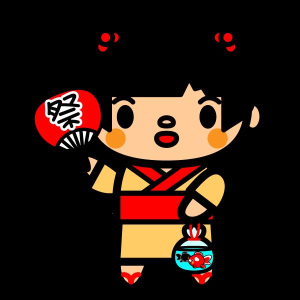 かわいい夏祭りの金魚の無料イラスト・商用フリー