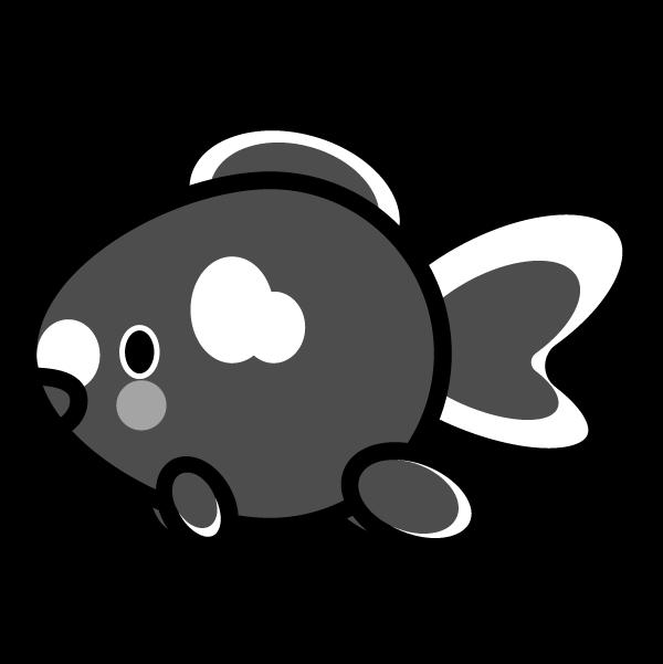 モノクロでかわいい金魚の無料イラスト・商用フリー