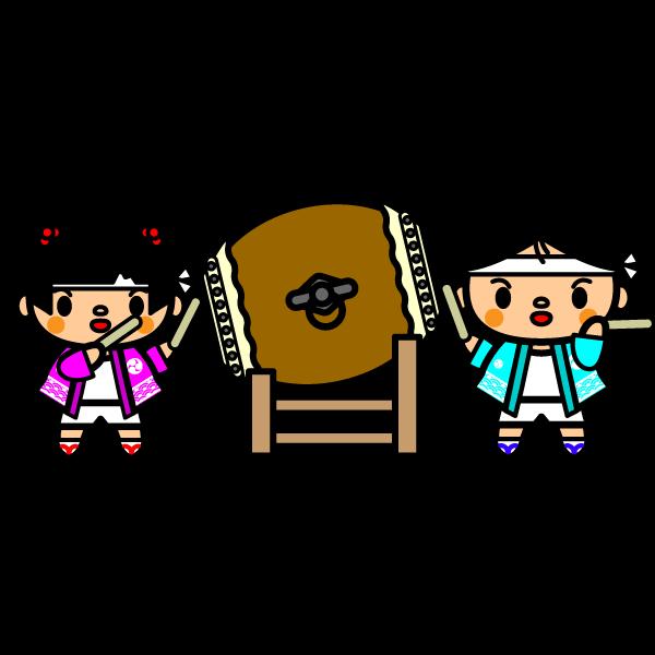 かわいい祭り太鼓の無料イラスト・商用フリー