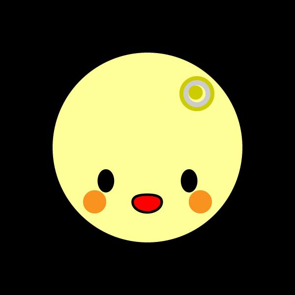 キャラクター風で笑顔のかわいい月の無料イラスト・商用フリー