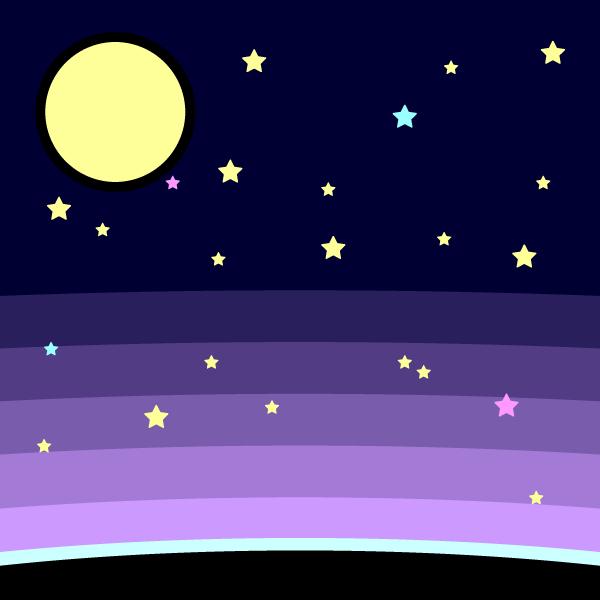 かわいい月と星の無料イラスト・商用フリー