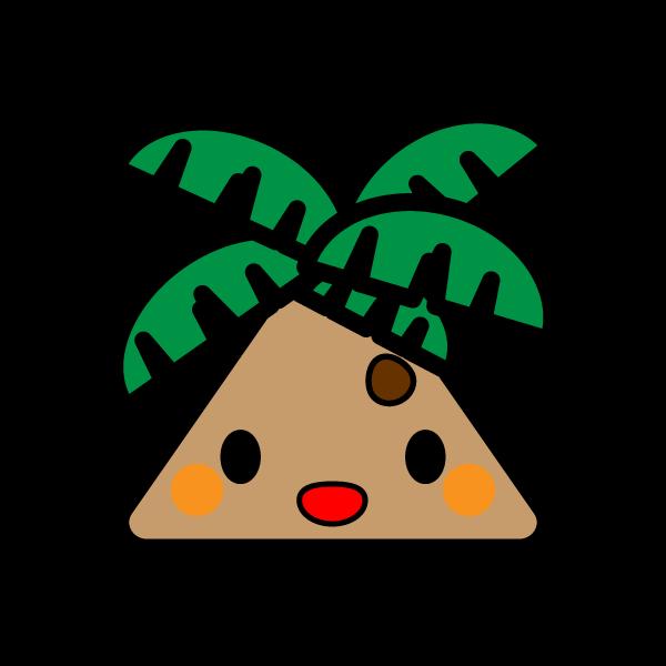 キャラクター風で笑顔のかわいいヤシの木の無料イラスト・商用フリー