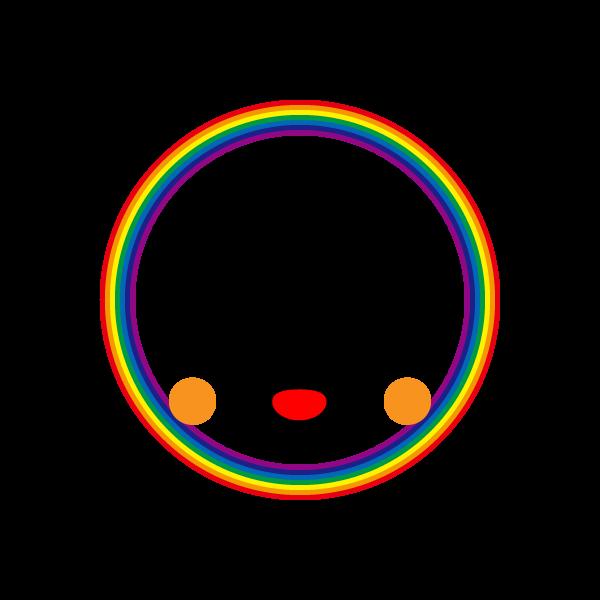 キャラクター風で笑顔のかわいい虹の無料イラスト・商用フリー
