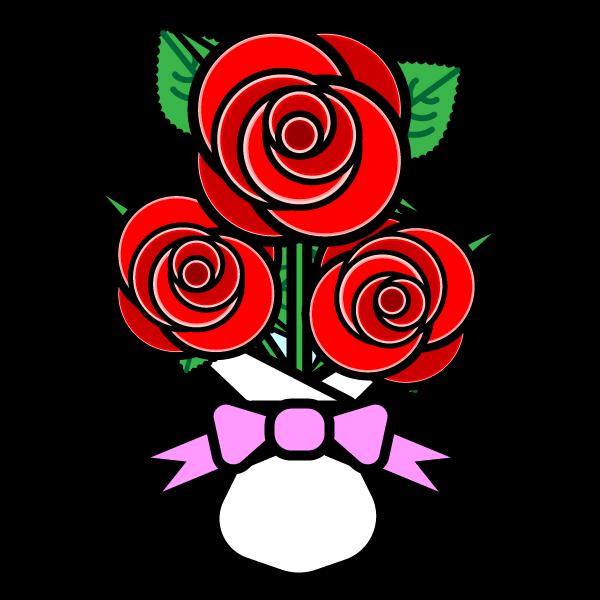 かわいいバラの花束の無料イラスト・商用フリー