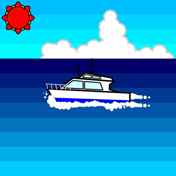 かわいい夏の海と船の無料イラスト・商用フリー