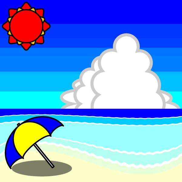 かわいい夏の海辺の無料イラスト・商用フリー