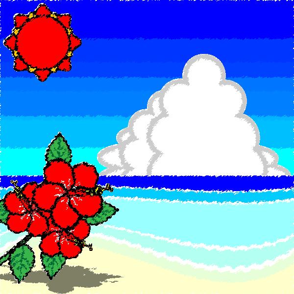 手書き風でかわいい夏の海辺の無料イラスト・商用フリー