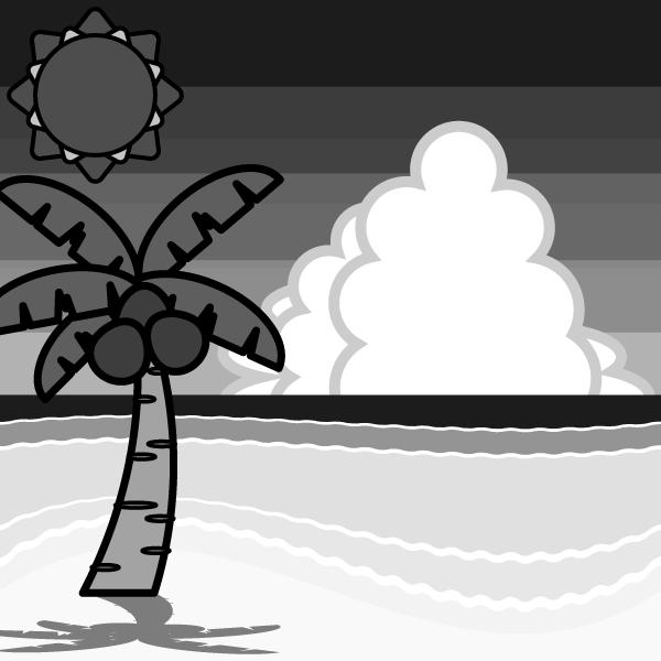 モノクロでかわいい夏の海辺の無料イラスト・商用フリー
