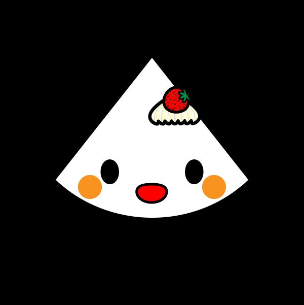 キャラクター風で笑顔のかわいいショートケーキの無料イラスト・商用フリー